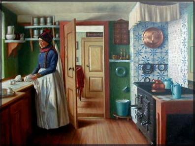 Interiør. Fanøkone i køkken